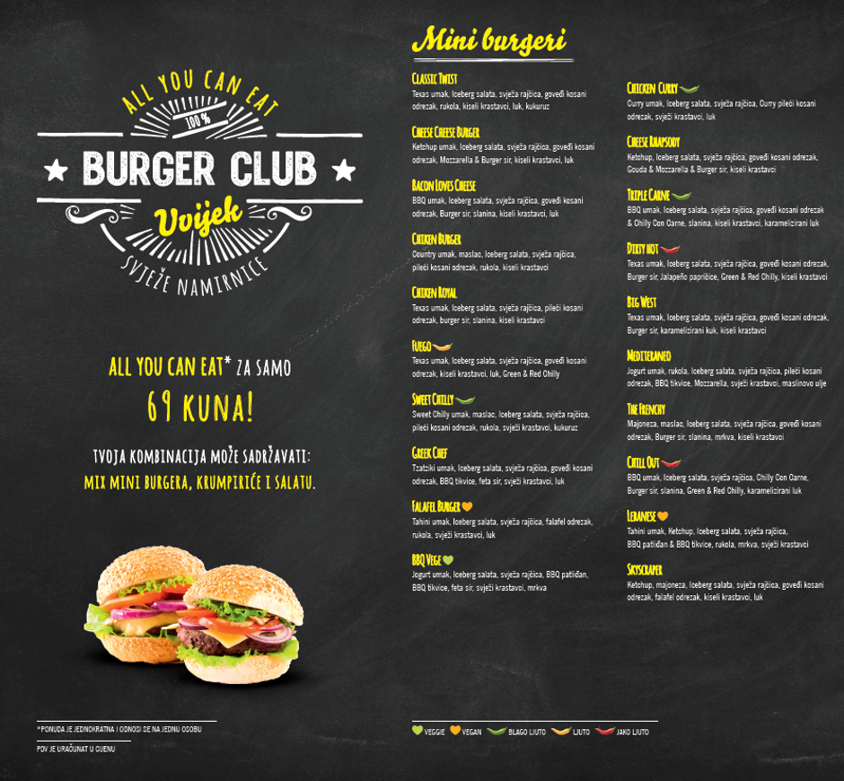 all you can eat burger club in zagreb. Black Bedroom Furniture Sets. Home Design Ideas